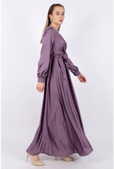 Puane Kuşaklı Saten Elbise Astarsız Lila -PN12143