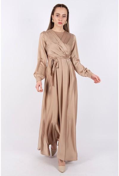 Puane Kuşaklı Saten Elbise Astarsız Taş -PN12143