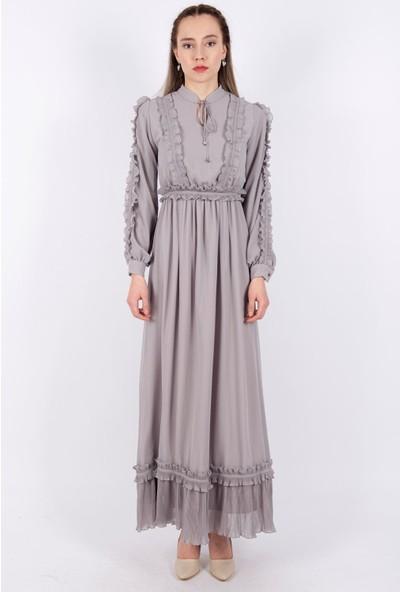 Puane Kuşaklı Şifon Elbise Astarlı Gri -PN12136