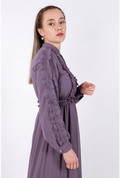 Puane Kuşaklı Şifon Elbise Astarlı Lila -PN12136