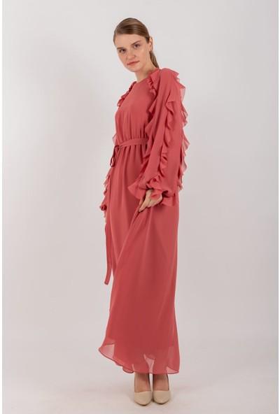 Loreen Kuşaklı Şifon Elbise Astarlı Mercan -LRN22173