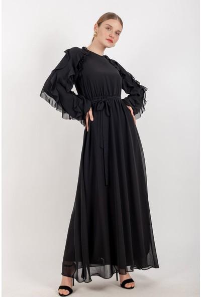 Loreen Kuşaklı Şifon Elbise Astarlı Siyah -LRN22173