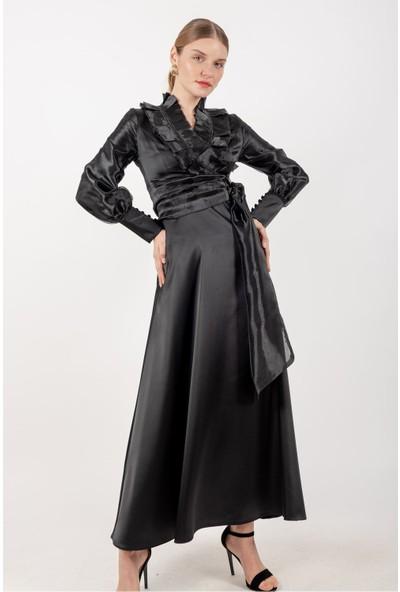 Loreen Kuşaklı Tüllü Elbise Astarlı Siyah -LRN22190