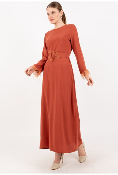 Puane Peluş Detaylı Kemerli Elbise Astarsız Kiremit -PN12167