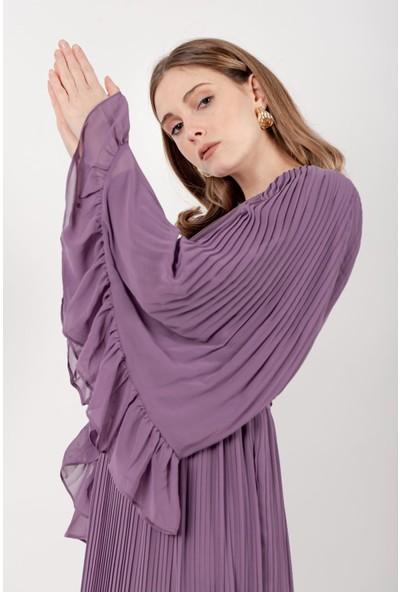 Puane Pileli Şifon Elbise Astarlı Lila -PN12142