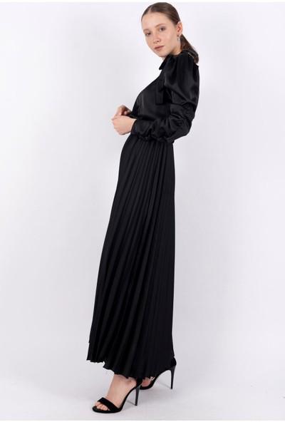 Loreen Piliseli Saten Elbise Astarsız Siyah -LRN22189