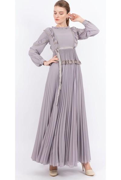 Puane Piliseli Şifon Maksi Elbise Gri -PN12145