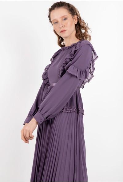 Puane Piliseli Şifon Maksi Elbise Lila -PN12145