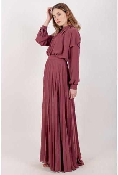 Puane Piliseli Şifon Maksi Elbise Astarlı Rose -PN12140