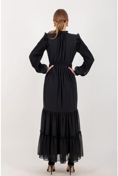 Loreen Piliseli Şifon Maksi Elbise Astarlı Siyah -LRN22176