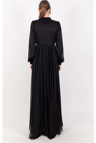 Loreen Pliseli Tüllü Uzun Elbise Siyah -LRN22192