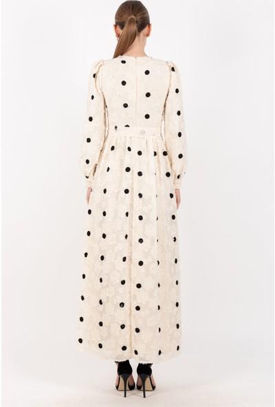 Loreen Puantiyeli Elbise Astarlı Ekru -LRN22196