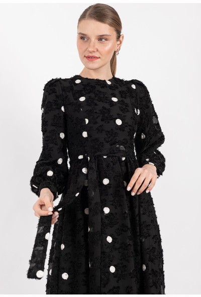 Loreen Puantiyeli Elbise Astarlı Siyah -LRN22196