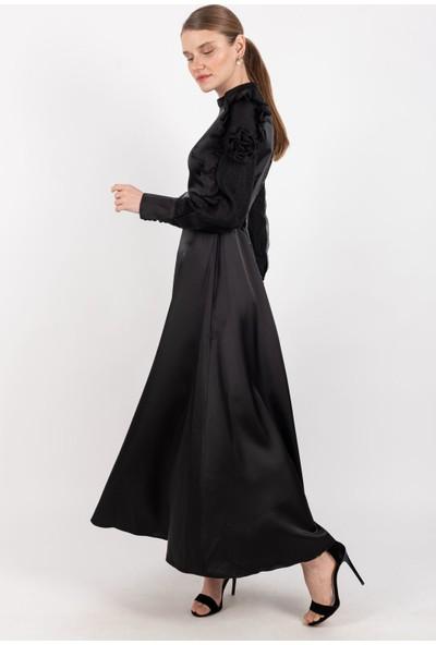 Loreen Saten Kolu Tüllü Elbise Astarsız Siyah -LRN22187