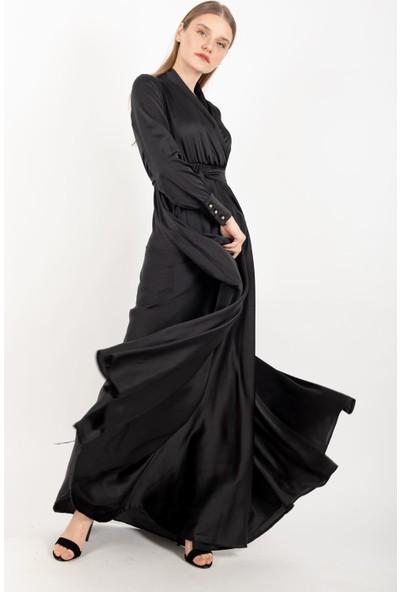Loreen Saten Kuşaklı Maksi Elbise Astarsız Siyah -LRN22179