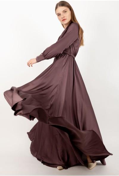 Loreen Saten Kuşaklı Maksi Elbise Astarsız Koyu Gül -LRN22179