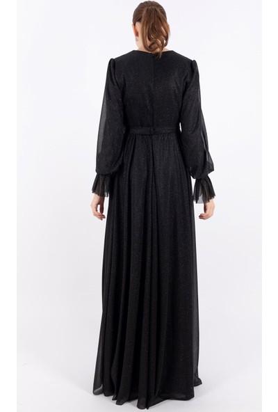 Loreen Simli Kuşaklı Elbise Astarlı Siyah -LRN22202