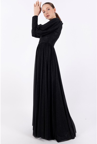 Loreen Simli Maksi Elbise Astarlı Siyah -LRN22199