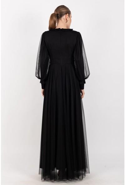 Loreen Süs Düğmeli Maksi Elbise Astarlı Siyah -LRN22182