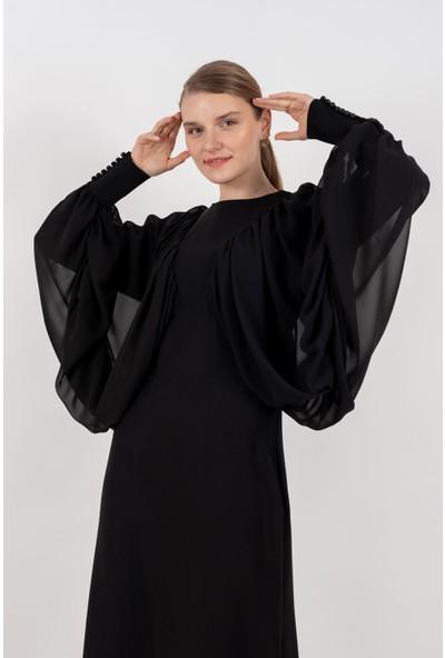 Loreen Şifon Detaylı Elbise Astarlı Siyah -LRN22167