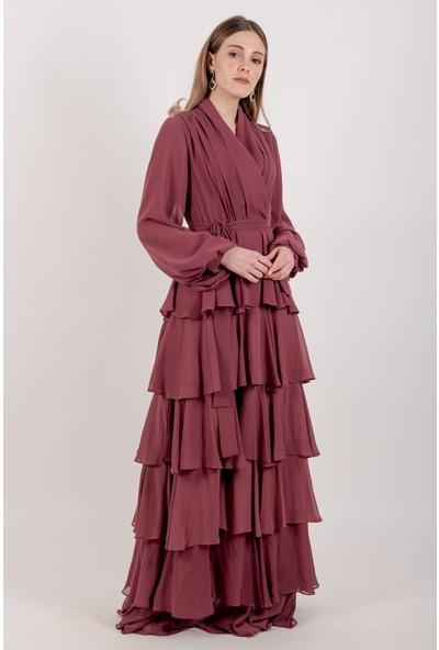 Puane Şifon Katlı Maksi Elbise Astarlı Rose -PN12139