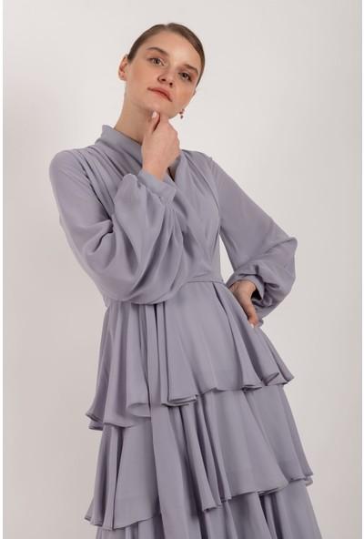 Puane Şifon Katlı Maksi Elbise Astarlı Gri -PN12139