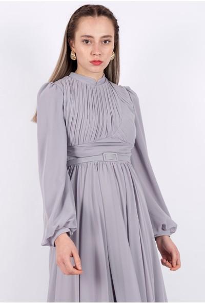 Puane Şifon Maksi Elbise Astarlı Gri -PN12151