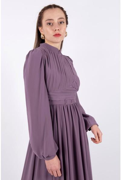 Puane Şifon Maksi Elbise Astarlı Lila -PN12151