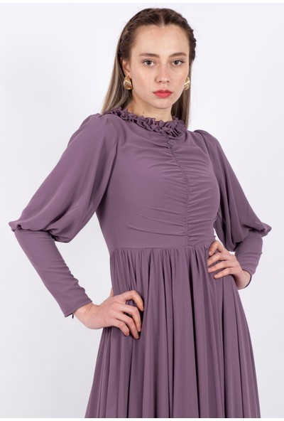 Puane Şifon Maksi Elbise Astarsız Lila -PN12152