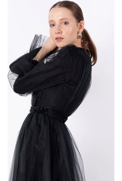 Loreen Tüllü Maksi Elbise Astarsız Siyah -LRN22194
