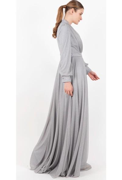Puane V Yaka Simli Elbise Astarlı Gri -PN12188