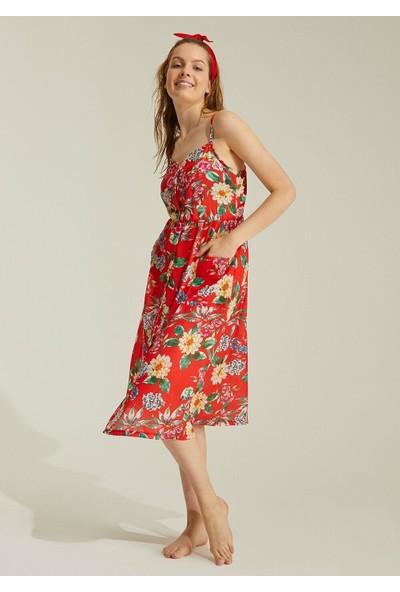 Suwen Rainbow Desenli Plaj Elbisesi - Çiçek Baskılı