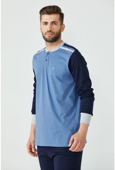 Sementa Erkek Patlı Yaka Pijama - Mavi - Lacivert
