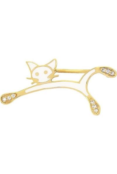 Valentine Diamond Yeni Doğan Bebek Iğnesi Beyaz Kedicik