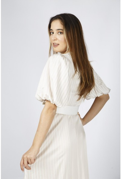Esi̇to Saten Uzun Çizgili Elbise