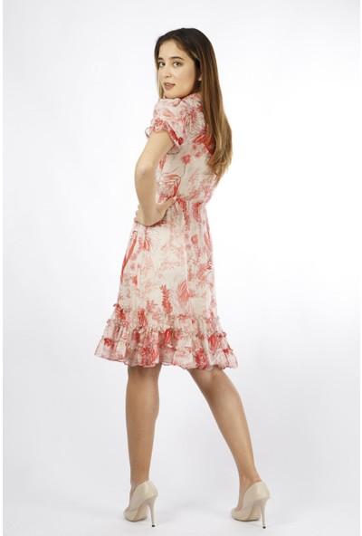 Esi̇to Şifon Fırfırlı Elbise