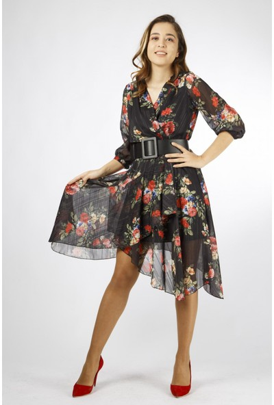 Favori̇ Çiçekli Asimetrik Şifon Elbise