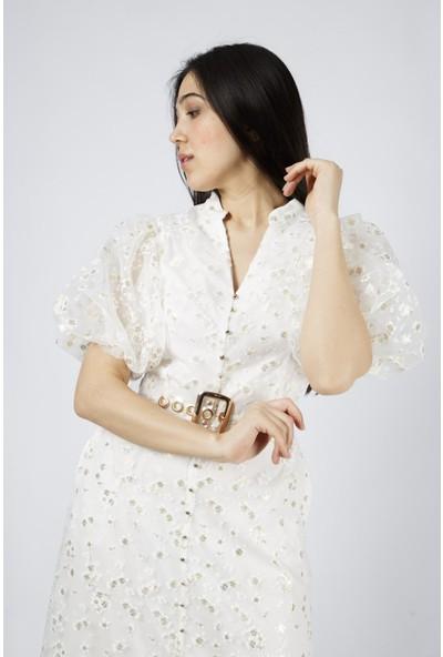 Favori̇ Organze Çiçekli Elbise