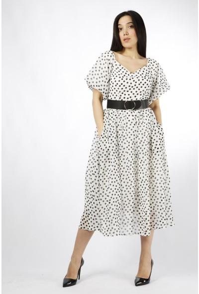 Favori̇ Puantiyeli Şifon Elbise