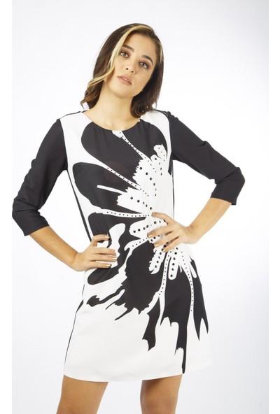 Favori̇ Siyah Boncuk Baskılı Elbise
