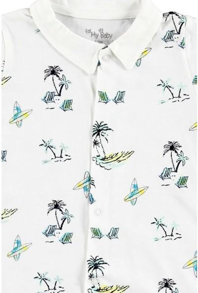 For My Baby Erkek Bebek Sörf Süprem Kısa Kol Polo Yaka Tek Kısa Tulum