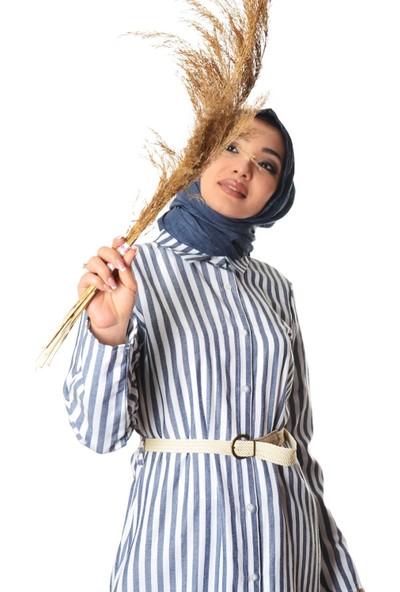 Modayns Kadın Boydan Düğmeli Dokuma Elbise