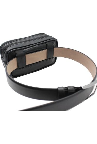 Hakan Çanta EG02 Deri Bel Çantası Telefonluk Siyah