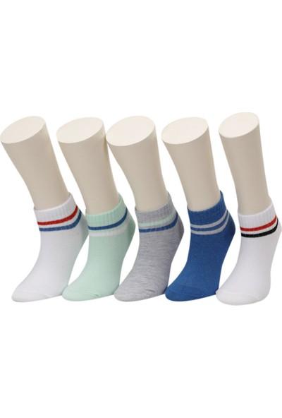 I Cool Ankle Stripe9 5'li Ptk-B Beyaz Erkek Çocuk 5'li Patik Çorap