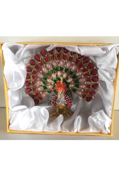 Mrc Swarovski Taşlı Karışık Renkli Tavus Kuşu Figürlü Mücevher Kutusu