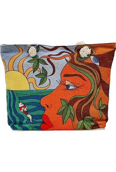 Haydi Maydi Plaj Çantası Deniz Kızı Desenli