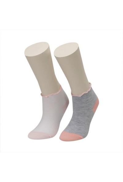 I Cool Fırfır 2 Lı Ptk-G Gri Multı Kız Çocuk Çorap