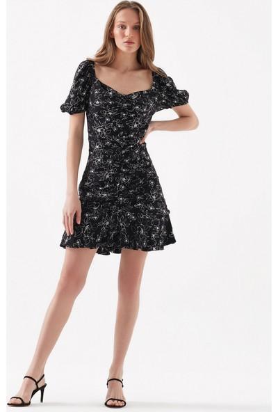 Çiçek Desenli Siyah Elbise 130988-32853