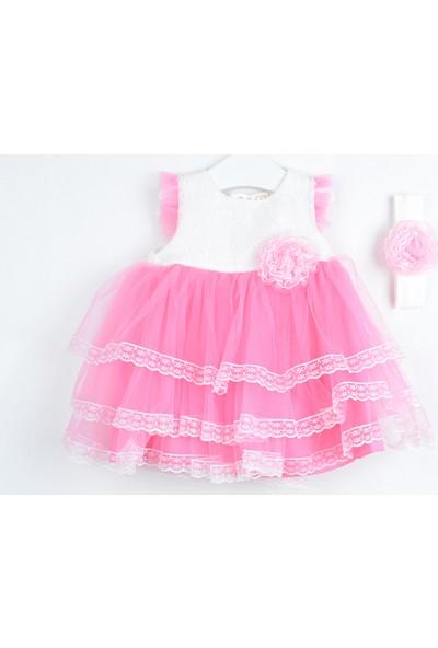 Serkon Kız Bebek Çocuk 3 Dantelli Elbise 2'li Takım 6 - 24 ay Serkon 4428
