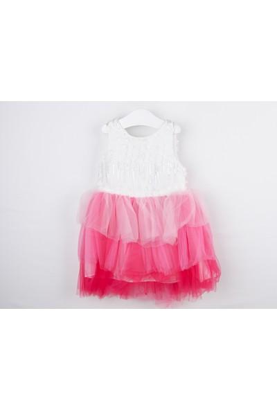 Serkon Kız Bebek Çocuk 3 Renk Tüllü Elbise 2 - 6 Yaş Serkon 4315